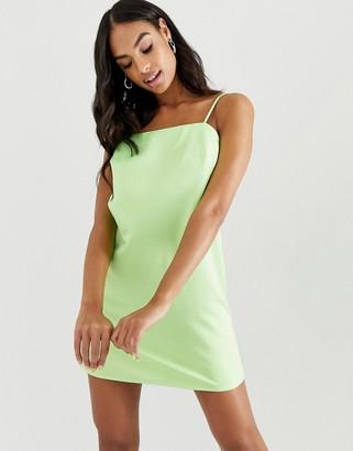 Asos Design DESIGN mini slip dress with strappy back in neon-Green