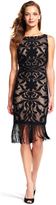 Adrianna Papell AP1D100060 Lace Short Dress with Fringed Hem