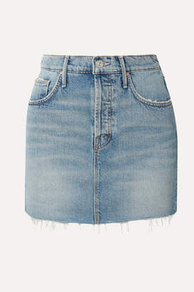 Mother The Vagabond Distressed Denim Mini Skirt - Mid denim
