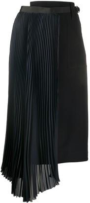 Sacai Draped Pleated Midi Skirt