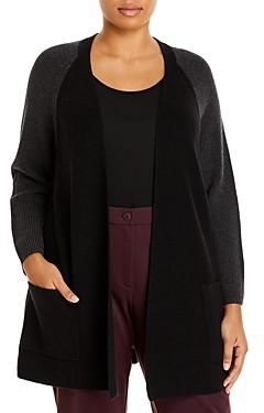 Eileen Fisher, Plus Size Two Tone Merino Wool Raglan Cardigan