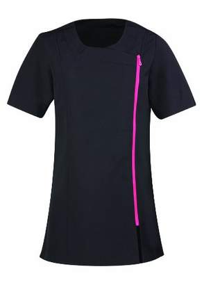 Workwear World WW186 Jane Asymmetric Beauty Tunic Uniform for Therapist Nail Salon Spa with Contrast Zip in or Teal (, )