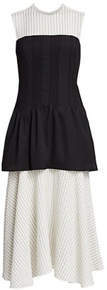 Nina Ricci Removable Corset Pinstripe Dress