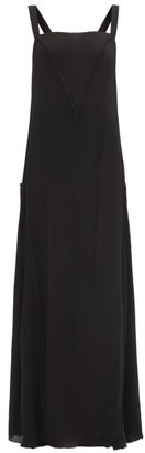 ALBUS LUMEN Manuela Square-neck Silk-crepe Maxi Dress - Black