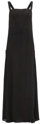 Albus Lumen - Manuela Square-neck Silk-crepe Maxi Dress - Womens - Black