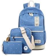 ZUNIYAMAMA Canvas Backpack Set Casual 3 Pieces Daypack/Shoulder Bag/Pencil Case School Bags Set for Teenage Girls
