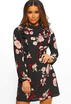 Pink Boutique What A Sweetie Black Floral Print Long Sleeve Mini Dress