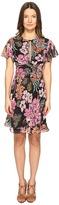 Just Cavalli Flower Power Print Flutter Sleeve Dress Women's Dress