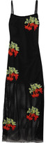House of Holland Appliquéd Mesh Maxi Dress