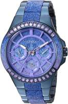 GUESS GUESS? Women's Quartz Plastic and Stainless Steel Casual Watch, Color:Blue (Model: U0945L3)