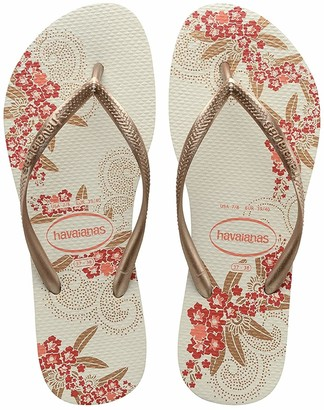 Havaianas Women's Slim Organic Flip Flops WHITE/ROSE GOLD/ROSE GOLD 1/2 UK 33/34 EU