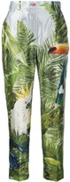 Dolce & Gabbana Jungle Forest silk cropped trousers