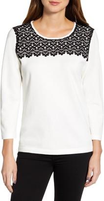 Karl Lagerfeld Paris Lace Trim Sweater