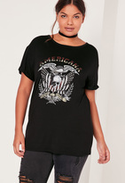 Missguided Plus Size Band T-Shirt Black