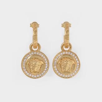 Versace Medusa Pendant Earrings In White And Gold Metal