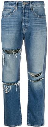 Frame Ripped High-Rise Boyfriend Jeans