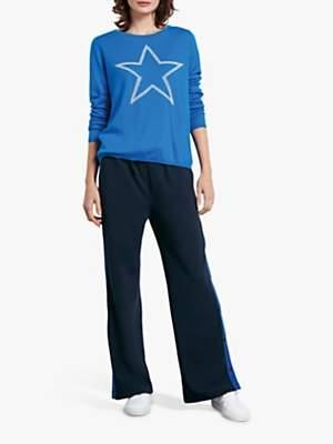 Hush Reversible Pointelle Star Jumper, Blue/Pale Grey