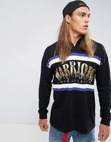 Asos Oversized Long Sleeve Rugby Polo With Warriors Foil Print