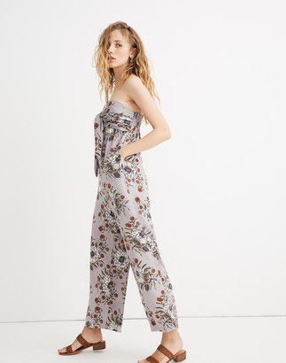 Madewell Petite Strapless Tie-Front Jumpsuit in Painted Blooms