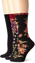 Ozone Women's Womens 3 Pack Crew Socks Birds and Waves