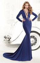 Tarik Ediz Beaded Long Sleeve Strappy Illusion Gown 92409