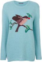 Alberta Ferretti bird patterned jumper - women - Acetate/Cashmere/Virgin Wool - 38