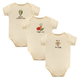 Touched by Nature Baby Girl or Boy Short Sleeve Bodysuits, 3-pack
