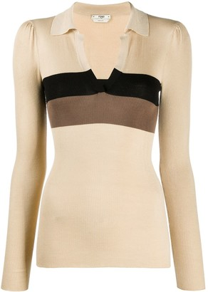 Fendi Stripe-Panel Long-Sleeve Top