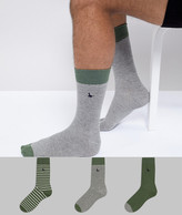 Jack Wills Alandale 3-Pack Sock in Khaki Charcoal Mix