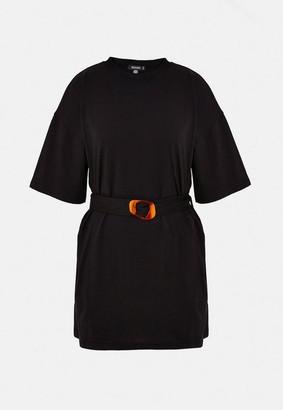 Missguided Black Tortoise Shell Belted Oversized T Shirt Dress