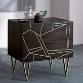 west elm Roar + Rabbit Brass Geo Inlay Nightstand - Ebony