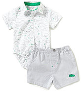 Little Me Baby Boys 3-9 Months Dinosaur-Printed Button-Front Bodysuit & Striped Pull-On Shorts Set