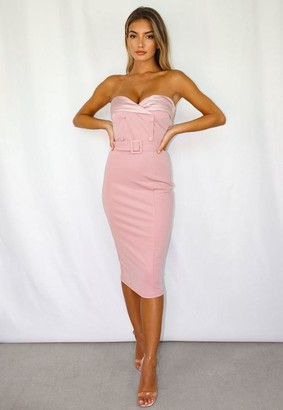 Missguided Petite Blush Satin Tuxedo Strapless Midi Dress