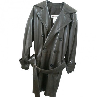 Saint Laurent Brown Leather Coat for Women Vintage