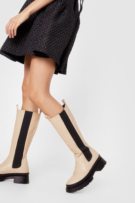 Nasty Gal Womens Faux Leather Knee High Chelsea Wellie Boots - Cream - 5, Cream