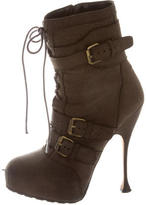 Brian Atwood Leather Platform Booties