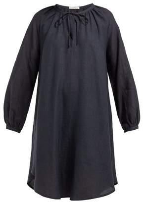 Denis Colomb Gathered-neck Linen Dress - Womens - Navy