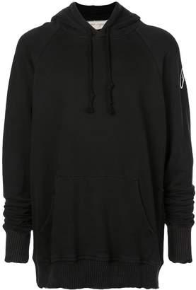 Greg Lauren contrast logo hoodie