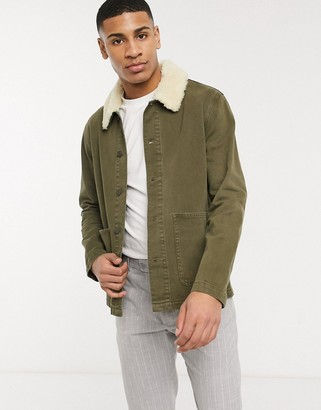 ASOS DESIGN denim worker jacket in green with fleece collar