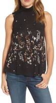 Lucky Brand Women's Mock Neck Floral Top