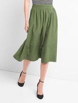 Shirred midi swing skirt