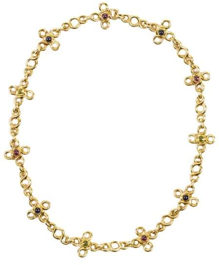 Chanel 18K Yellow Gold Multicolor Cabochon Gemstone Short Chain Necklace