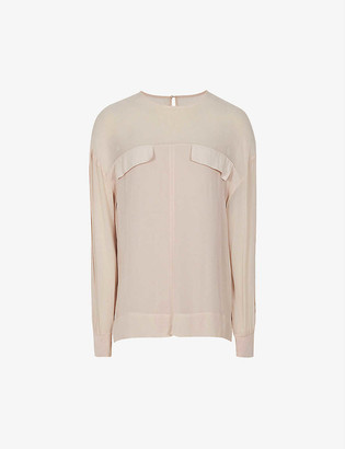 Reiss Camille sheer-panel woven top