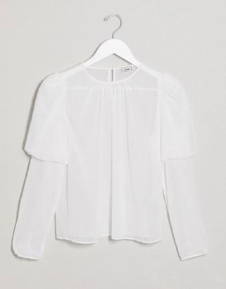 Pimkie dobby long sleeved blouse in white
