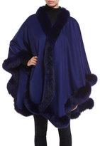 Bergdorf Goodman Cashmere Fox Fur-Trim Cape, Cobalt