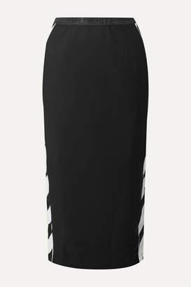 Off-White Off White Striped Stretch-jersey Midi Skirt - Black