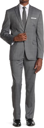 Perry Ellis Medium Grey Plaid Two Button Notch Lapel Suit