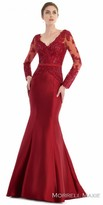 Morrell Maxie Sheer Lace Rhinestone Embellished Trumpet Evening Gown