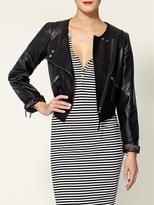 Collarless Cropped Vegan Leather Jacket