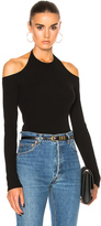 Rosetta Getty Cotton Rib Jersey Off Shoulder Tee in Black.